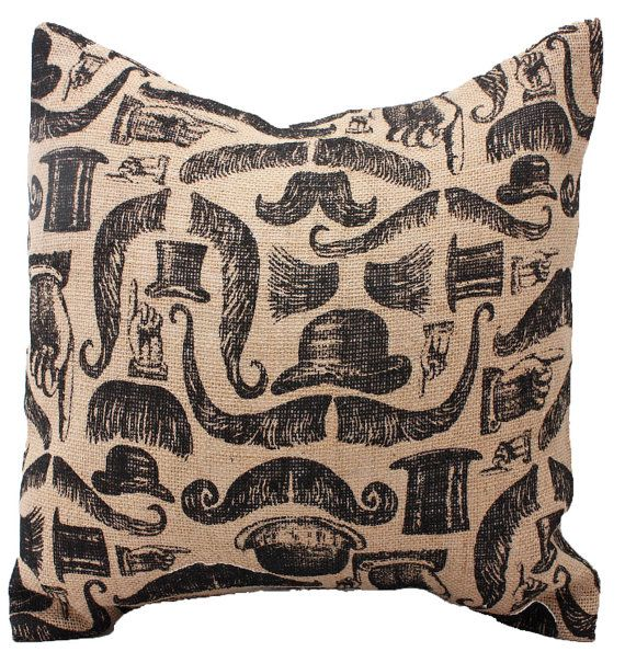 Free U.S. Shipping - Black and Natural Burlap Mustache Pillow Cover, Decorative Throw Pillow, Father's Day, Men, Boys - ONE 16x16 inch on Etsy, $19.00