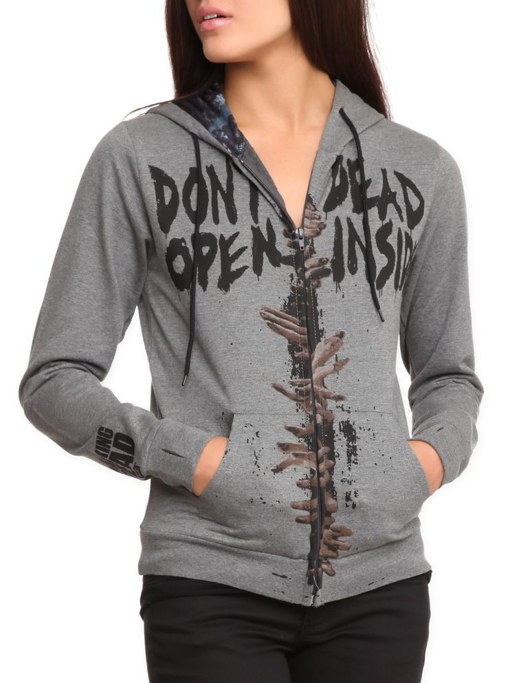 "Officially licensed The Walking Dead zip hoodie with ""Don't Open - Dead Inside"" design with zombie print lined hood."