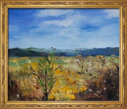 Thistles    Summer landscape, original composition, inspired by a warm summer day, on a plain somewhere between Romania and Bulgaria.    Oil on canvas, 60×80 cm, painted with a palette knife.    The painting was done in 2013.