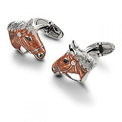 Aspinal of London horse head cufflinks.  Aspinal of London presents these cute little English horse head cufflinks made from sterling silver and enamel plated. These cufflinks have been meticulously hand crafted in England and feature a pair of hand-painted enamel hose heads mounted on a swivel t-bar fitting.