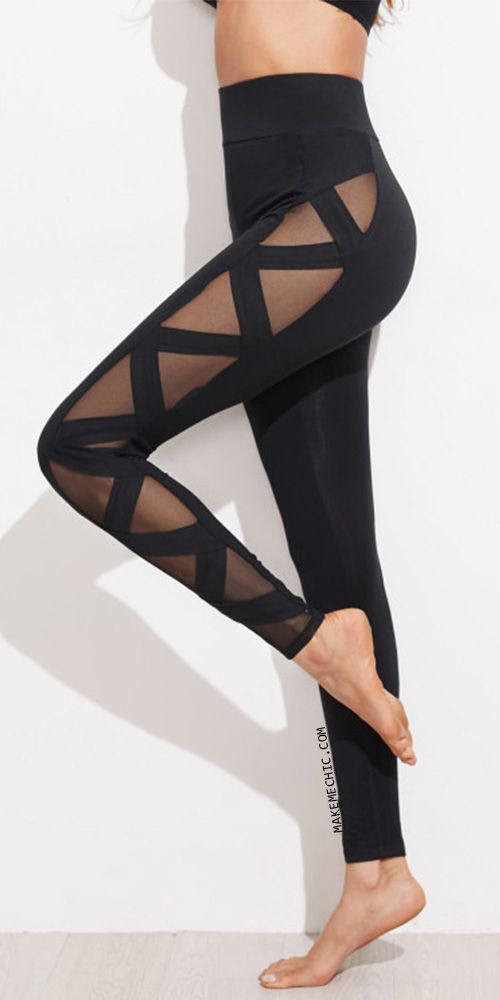 Mesh Panel Bandage Leggings