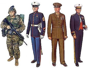 Marines Uniforms are the only military uniform to incorporate the; Red White & Blue