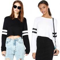 Black New Fashion Lady Womens Casual Long Sleeve O-neck Striped Crop Tops