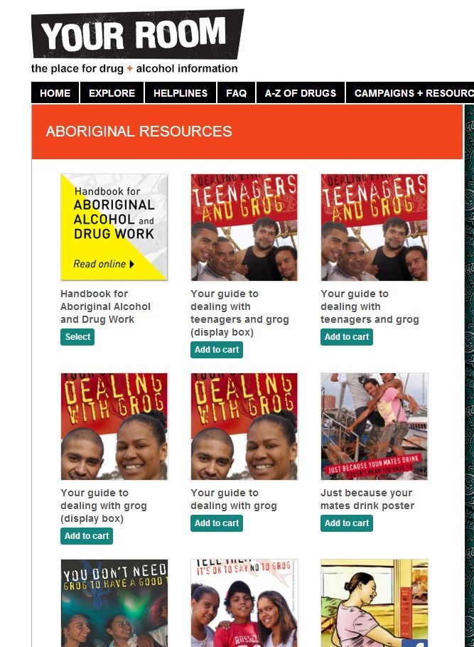 Aboriginal resources - a range of posters, booklets and free downloads are available from the Your Room website - NSW Health.