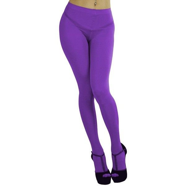 ToBeInStyle Women's Opaque Full Footed Panty Hose Leggings Tights... ($12) ❤ liked on Polyvore featuring intimates, hosiery, tights, purple pantyhose, purple opaque tights, opaque hosiery, panty hose stockings and opaque stockings