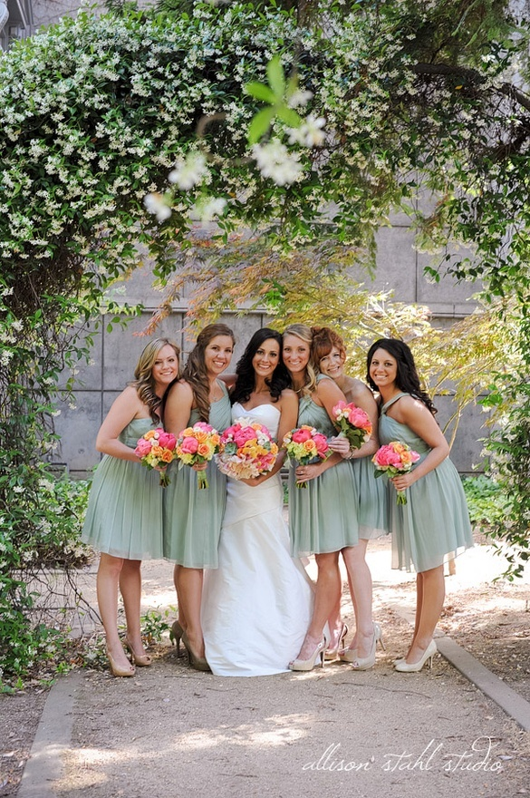 Minty Seafoam Green Bridesmaid Dresses With Pretty Colorful Bouquets Allison Stahl Photography Wedding Ideas