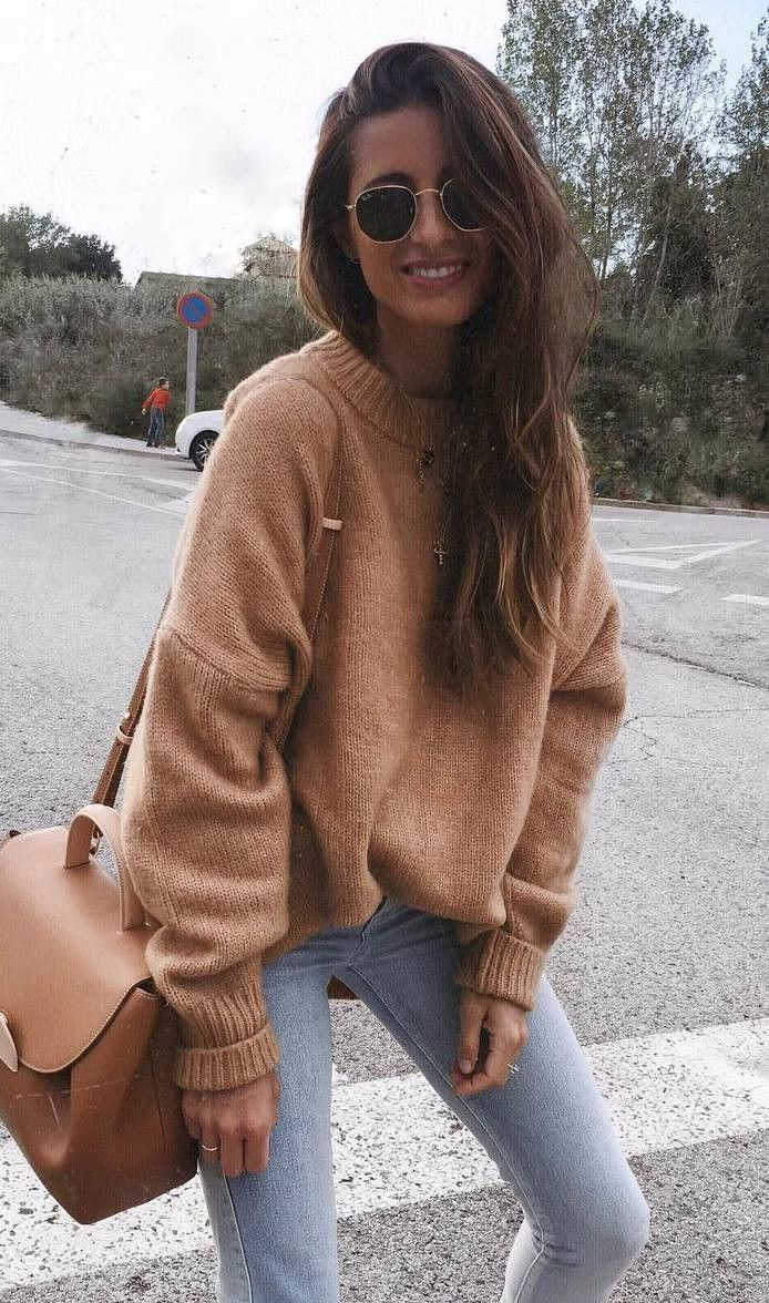 Camel sweater & crossbody bag, faded skinny jeans