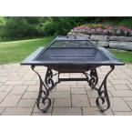 Oakland Living Victoria 33 in. Iron Fire Pit in Black with Grill and Spark Guard Screen Lid