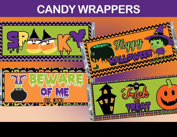 halloween candy bar labels instant download