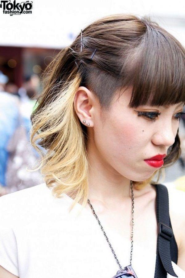 Schulterlanges Braunes Und Blondes Haar Mit Seitenrasur Und Pony Cabelo Fotos De Cabelo Penteados Raspados