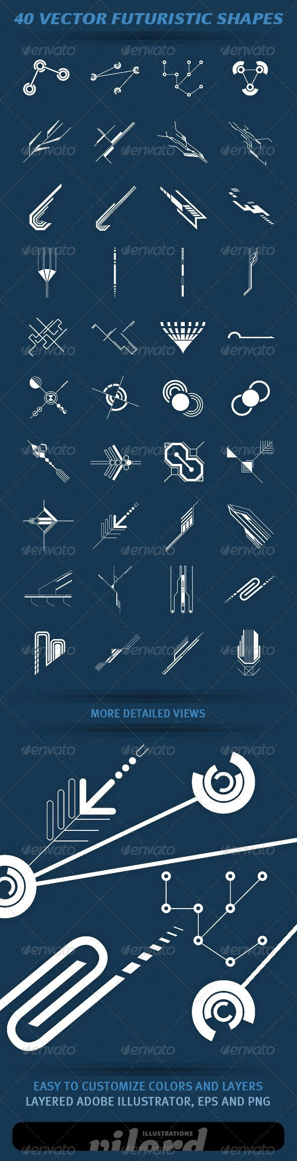 "40 Vector Futuristic Shapes  #GraphicRiver         Set of 40 vector hi-tech futuristic shapes for your graphic designs. Great for print or web design! Enjoy   	 Adobe Illustrator is main file and ""fully editable"". Also transparent PNG and EPS files in the package.     Created: 4April12 GraphicsFilesIncluded: TransparentPNG #VectorEPS #AIIllustrator Layered: Yes MinimumAdobeCSVersion: CS Tags: decorative #future #futuristic #geometric #hi-tech #ornaments #schemes #shapes #technology #vector"