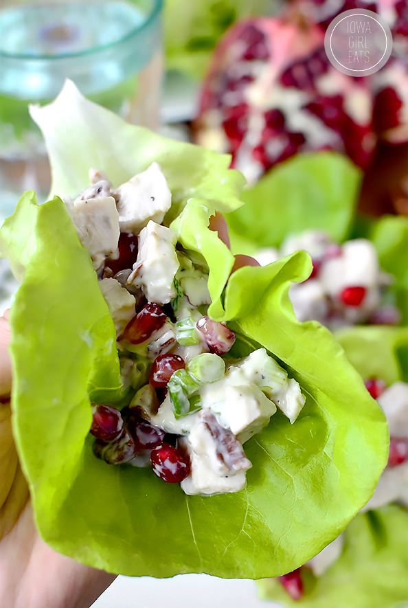 Honey, Pomegranate, Pecan Chicken Salad Lettuce Wraps... light, fresh, and mayo-free. Perfect for a refreshing lunch or dinner! #glutenfree | iowagirleats.com: