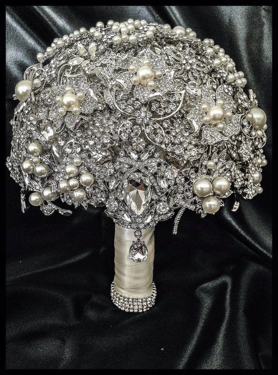 Rich Classic Pearl Brooch Bouquet. Deposit on Crystal Bling Glam Pearl Brooch Bridal Bouquet. Pearl ivory silver Broach Bouquet