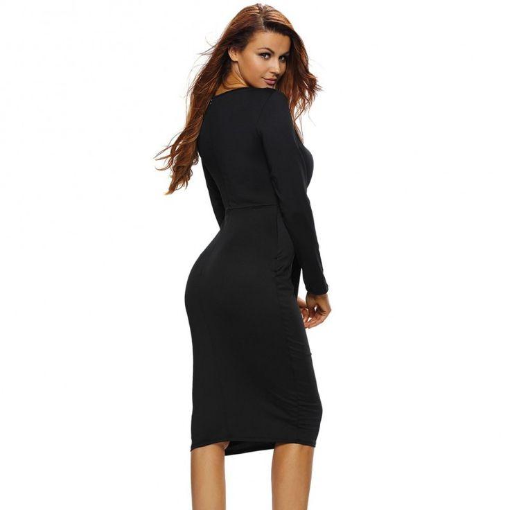 Black Multi-way Deep V Neck Knot Tie Long Sleeve Midi Dress