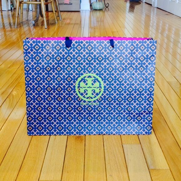 "Tory Burch Blue & Green Shopper Large paper shopping bag with fabric handles. Measures 16"" x 12"" x 6"". Tory Burch Bags Totes"