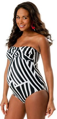 ShopStyle: Motherhood Convertible Straps Maternity One Piece Swimsuit