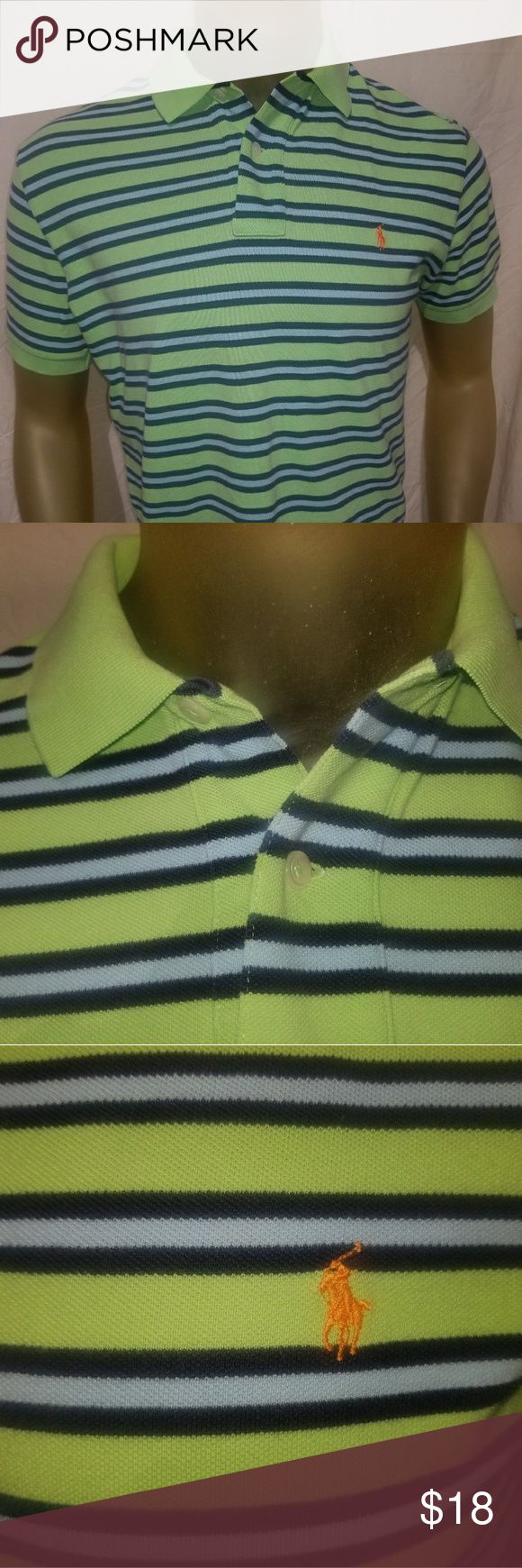 """Men Polo Ralph Lauren Polo Medium Shirt Up for sale is a a preowned Size medium Polo by Ralph Lauren Shirt.   Armpit to armpit: 22""""  Length from shoulder to bottom hem: 25""""  Shirt is in great condition. No rips no holes no stains etc.  Lime green, light blue, dark blue horizontal stripes. Orange pony. Polo by Ralph Lauren Shirts Polos"""