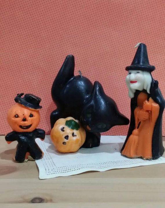Vintage Halloween Candles Set of 3 Witch Black Cat Jack O