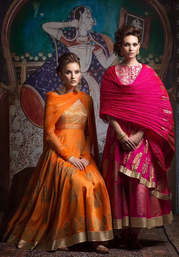 Rohit Bal at Biba London  Tangerine chanderi anarkali with gold lurex applique embroidery and gold block print