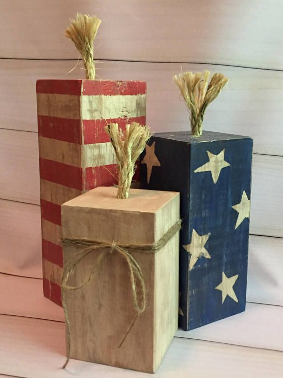 Wooden rustic 4th of July firecrackers american flag