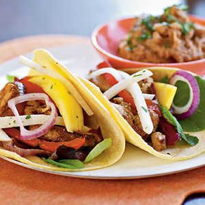 Fiesta Chicken Tacos Menu | This simple quick-to-fix meal will fit your hectic work schedule or busy home life. (Serves 4)Fiesta Chicken Tacos with Mango and Jicama Salad Chipotle refritos*