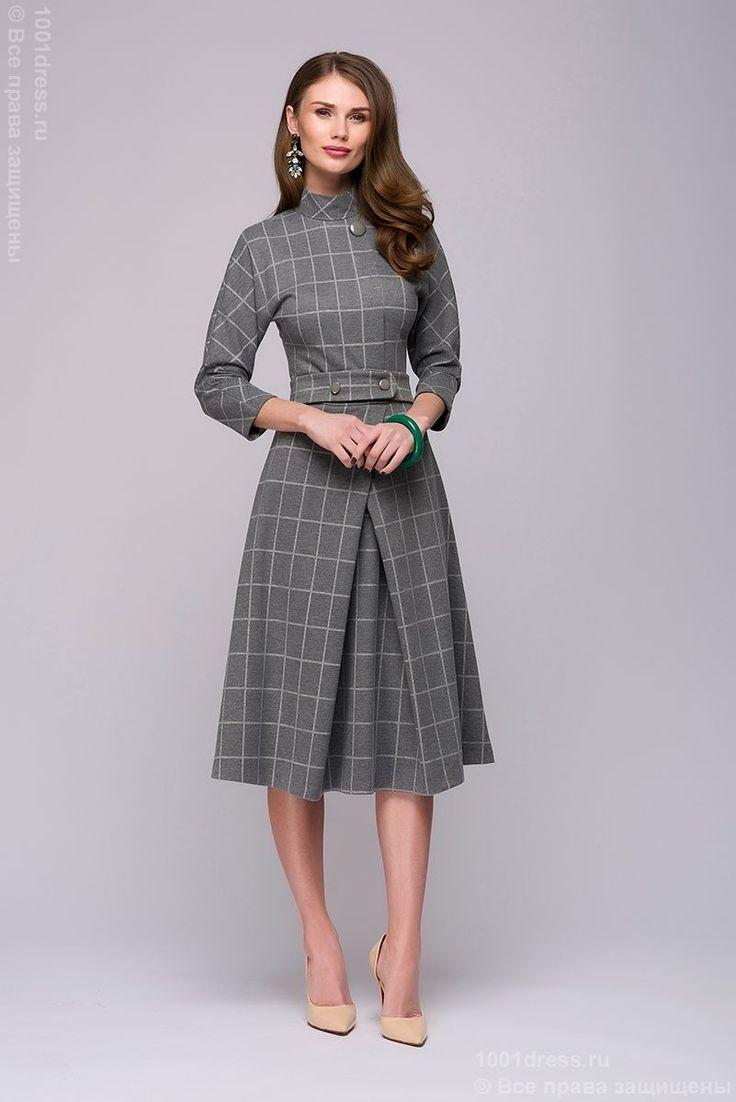 Купить платье серое длины миди в белую клетку с воротником-стойкой в интернет-магазине 1001DRESS
