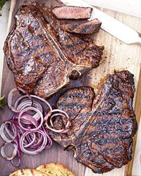 Spice-Rubbed T-Bone Steaks    Big, thick steaks need a lot of seasoning, so be sure to cover them liberally with salt, pepper and any rub before grilling.