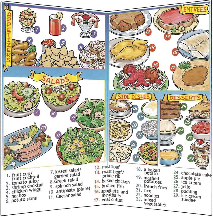 Restaurant menu vocabulary and conversation about ordering food English lesson