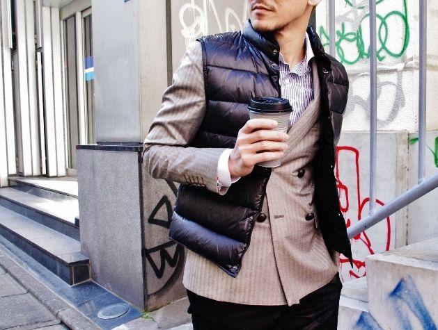 ロロピアーナ・ウールカシミアストームシステム6釦ダブルブレステッドジャケット+ダウンベスト付き ¥29,000‐+税