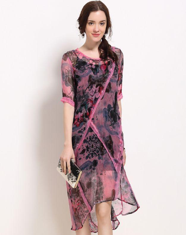 Pink Silk Paneled High Low A-line Dress