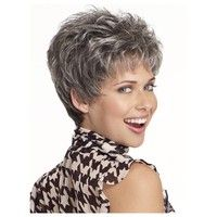 Curly Beautiful Wig Cut Short Pixie Wigs for Women Style Synthetic Gray Hair Wig with Bangs