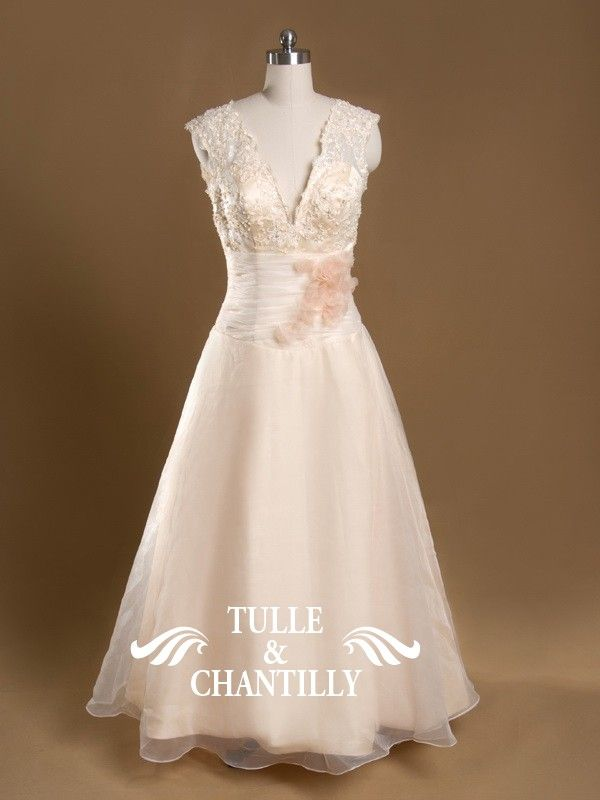 Sparkle-Custom Made Plus Size V-Neck Ankle Length Lace Coral Wedding Gown. Tulle & Chantilly. Also comes in ivory and white.