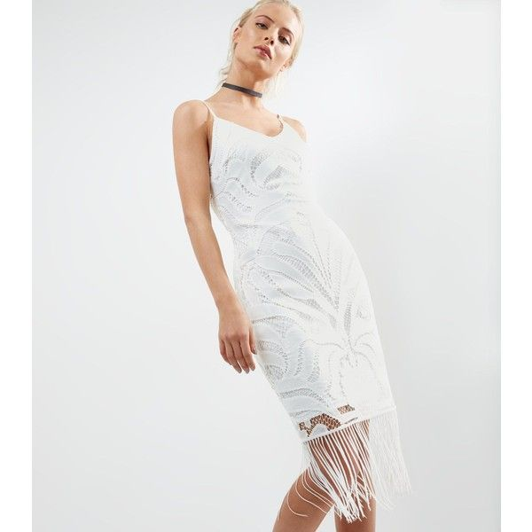 New Look Parisian White Lace Fringed Hem Bodycon Dress (570 MXN) ❤ liked on Polyvore featuring dresses, white, night out dresses, white day dress, white bodycon dresses, holiday party dresses and body con dresses