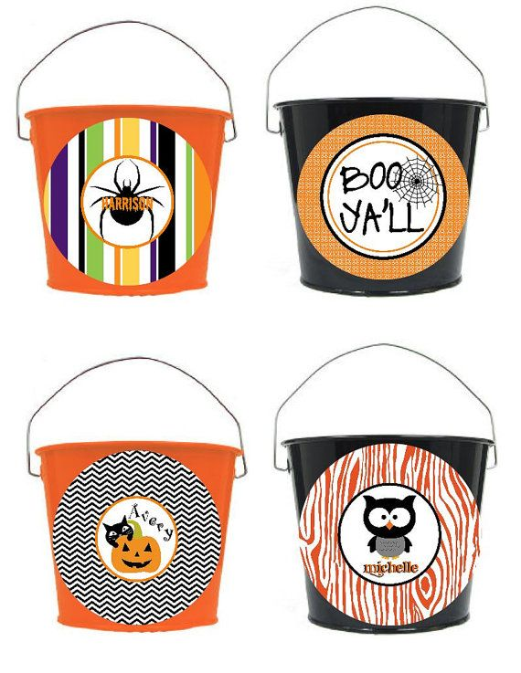 Personalized 5 Quart Halloween Bucket  More by monkeyseeboutique,
