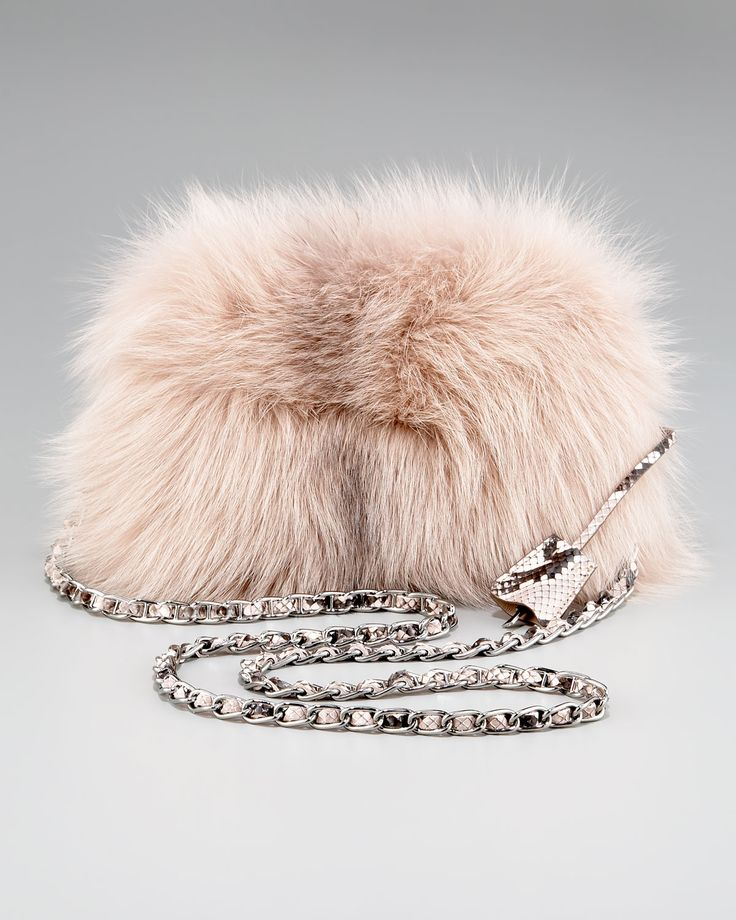 Prada Fox Fur Clutch Nude Dress #2dayslook #watsonlucy723 ...