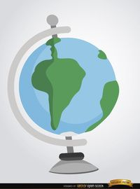 Desktop earth globe in cartoon style. It's a nice vector to use in academic, geographic or school-related promos. High quality JPG included. Under Commons 4.0. Attribution License.