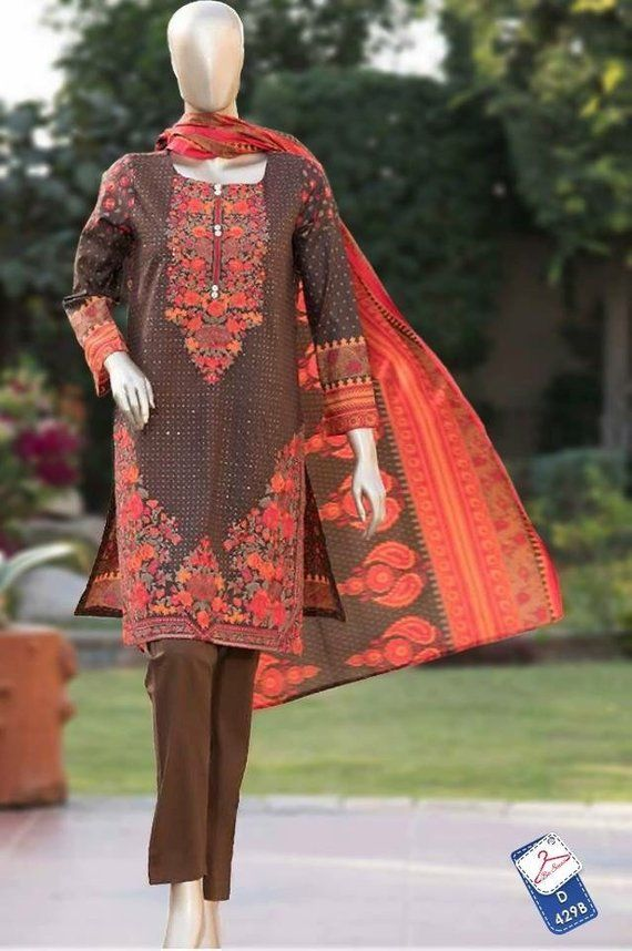 62999d5188 Bin Saeed Lawn three piece embroidered suit with lawn duppata size , small  pakistani shalwar kameez