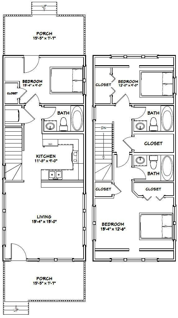16×40 House — 1,193 sq ft — PDF Floor Plan — Instant Download — Model 1A