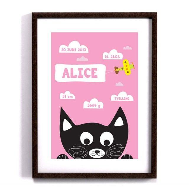 Birth announcement print, Peekaboo Cat - pink from Forma Nova #kitty #kitten #cat