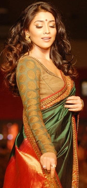 Green saree and full sleeves blouse. <3