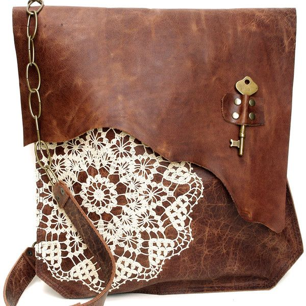 XL Deluxe Antique Whiskey Boho Leather Messenger Bag with Crochet Doily and Antique Brass Key THIS BAG IS MADE TO ORDER. PLEASE ALLOW 8 WEEKS before your bag i…