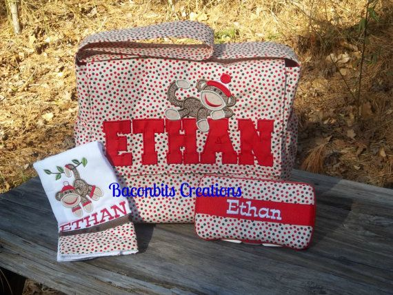 sock monkey diaper bag  wipe box and burp cloth