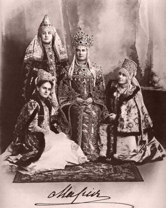 Grand Duchess Maria Pavlovna (center) at the historic Costume Ball in the Winter Palace, 1903.