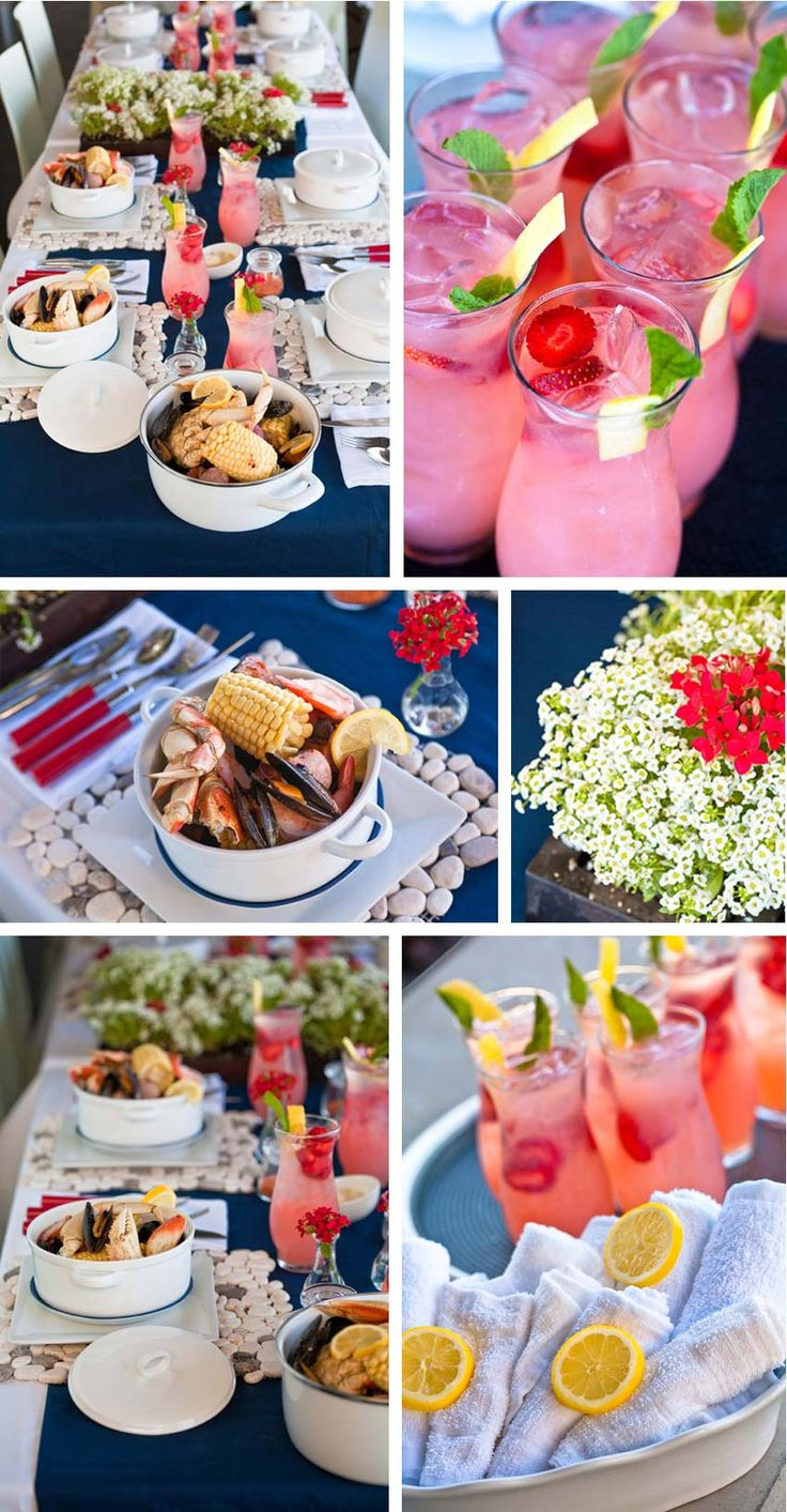 Summer seafood boil party - Individual seafood pots, lemon scented hand towels, & cocktails