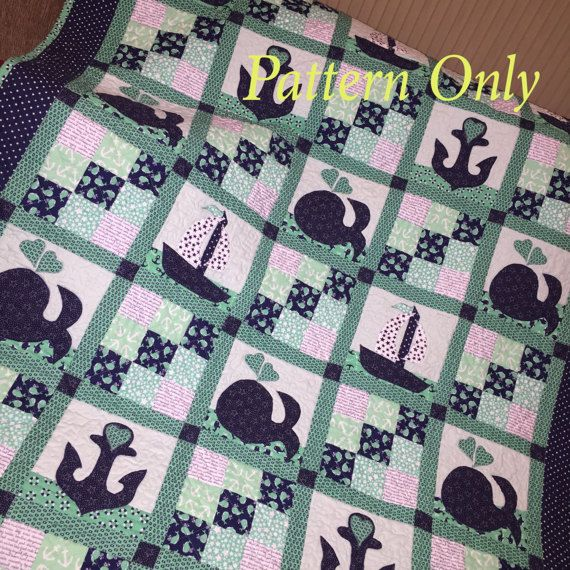 Sailboat Baby Quilt Pattern, Whales baby boy Quilt Pattern, Nautical Quilt Pattern, Baby Boy Girl, baby blanket, is a PDF Pattern