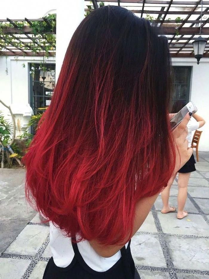 Black To Red Long And Straight Hair Ombre Curly Hair Paved Street White Top Ombrehairstraight Red Ombre Hair Ombre Hair Color Hair Styles