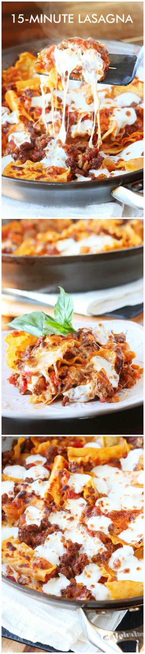 Easiest Ever 15-Minute Lasagna. This is the best lasagna ever because you cook everything in just ONE skillet on the stovetop in 15 minutes! Perfect for a hearty, home-cooked meal on busy weeknights! You dont even have to pre-boil the noodles. Ill never make lasagna the old fashioned way again!