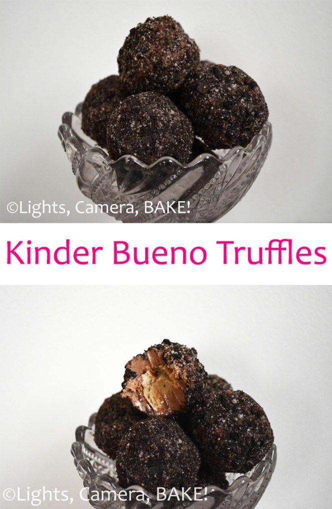 Kinder Bueno Truffles. Rich, sweet, decadent, no fuss, no bake treat. Soft and inviting, these truffles are a special sweet treat! Click the photo for the #recipe. #kinderbueno #truffles