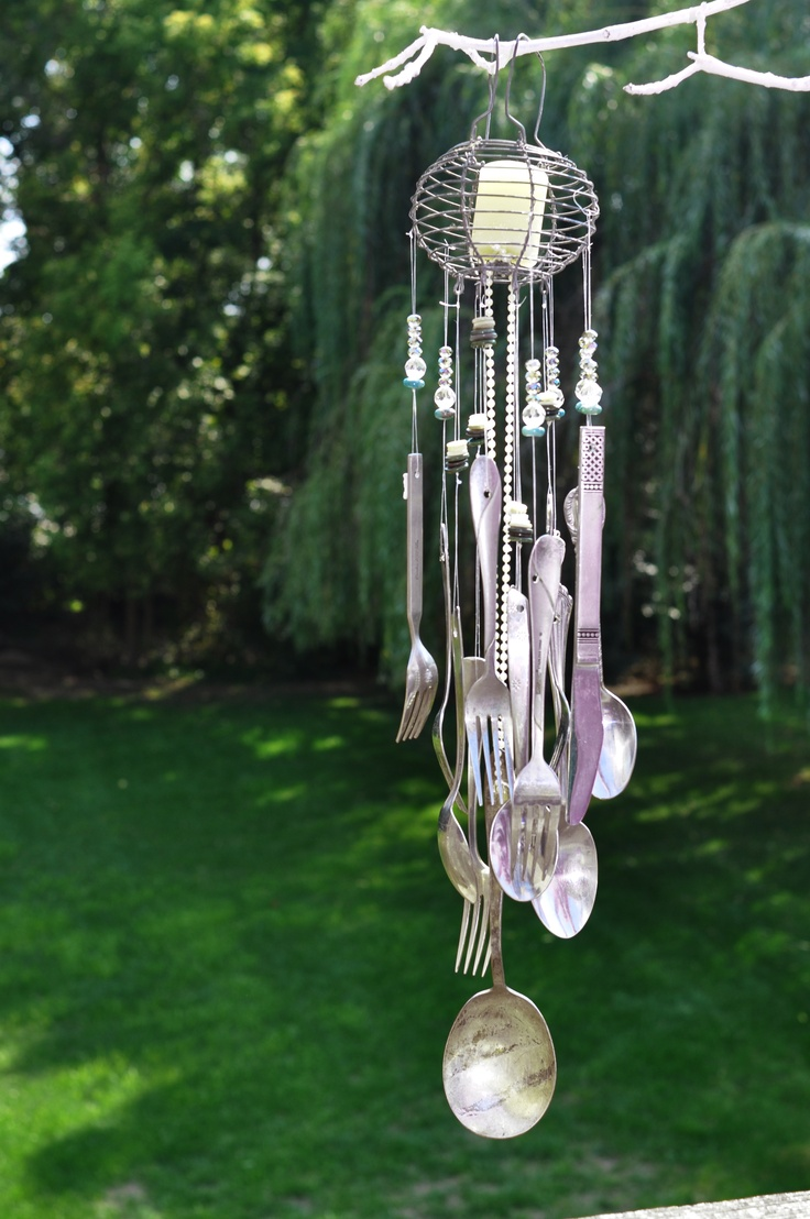 17 best images about crafts wind chimes on pinterest for How to make a windchime out of silverware