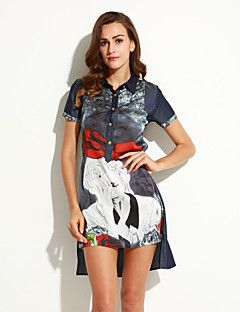 Mulheres+Vestido+Solto+Moda+de+Rua+Patchwork+Assimétrico+Colarinho+de+Camisa+Poliéster+–+BRL+R$+308,36